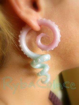 jewels ear plug tentacles pastel