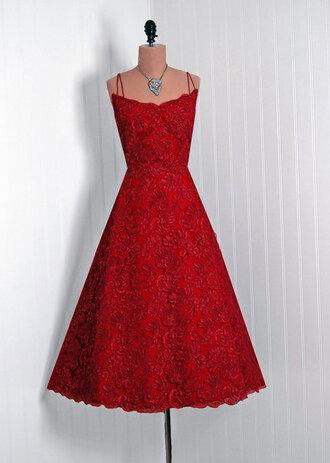 dress floral lace dress 1950s