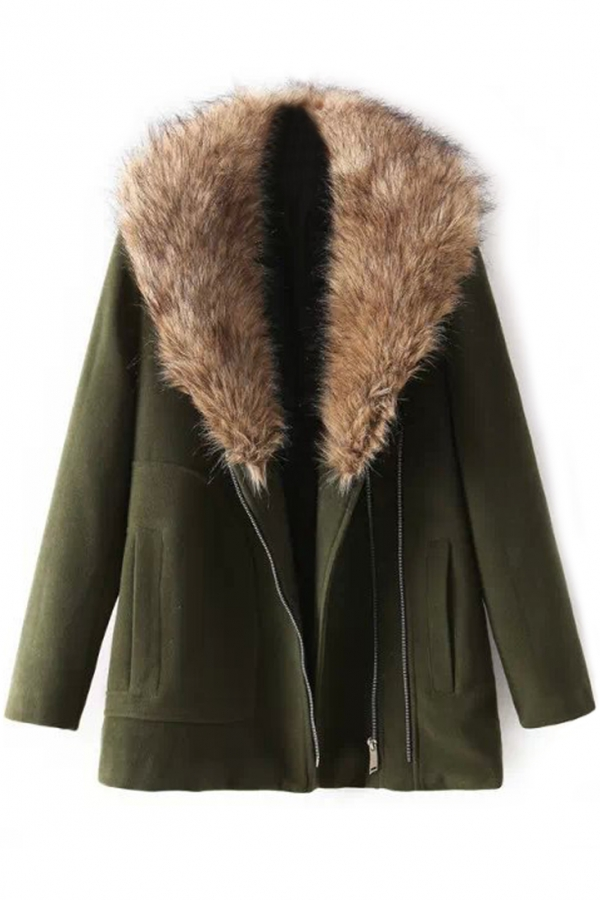 Olive Green Faux Fur Collar Coat - OASAP.com
