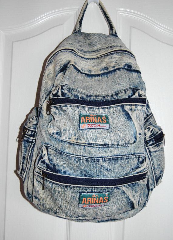 Acid wash totally 90's denim backpack