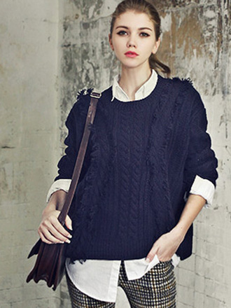 sweater navy tassel-trim long-sleeve chunky sole preppy