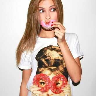 shirt cute shirt sarah ellen girly clothes girly shirt girly tshirt donut top donut girly cute tshirt t-shirt