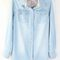 Light blue lapel long sleeve double pockets denim shirt
