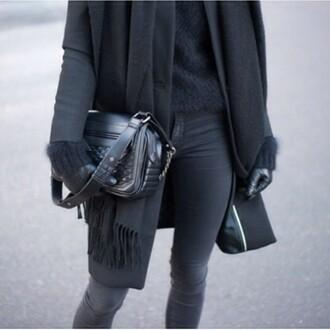bag black black jeans black jacket black sweater black gloves cute outfits
