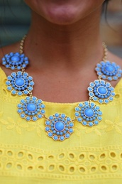 jewels,necklace,summer,kate spade,flowers,floral,blue