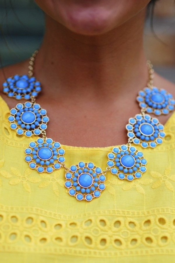 jewels necklace summer kate spade flowers floral blue