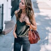 top,green top,tumblr,camisole,silk,bag,brown bag,leather bag,bucket bag,necklace,gold necklace,jewels