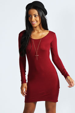 Lucie Long Sleeve Scoop Neck Bodycon Dress at boohoo.com