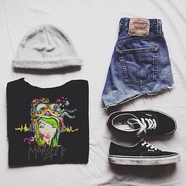 shirt shorts shoes cute outfit beanie pls ghost town ghost town band ghost town fab grunge hipster tips hat