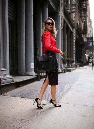 memorandum blogger bag skirt blouse shoes sunglasses jewels red top pumps high heel pumps midi skirt spring outfits