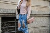 jeans,tumblr,blue jeans,ripped jeans,denim,sweater,pink sweater,bag,pink bag,chanel,chanel bag