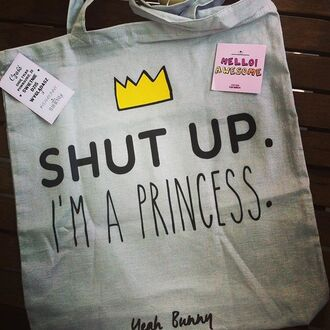 bag yeah bunny crown cute grey shut up im a princes shopper bag