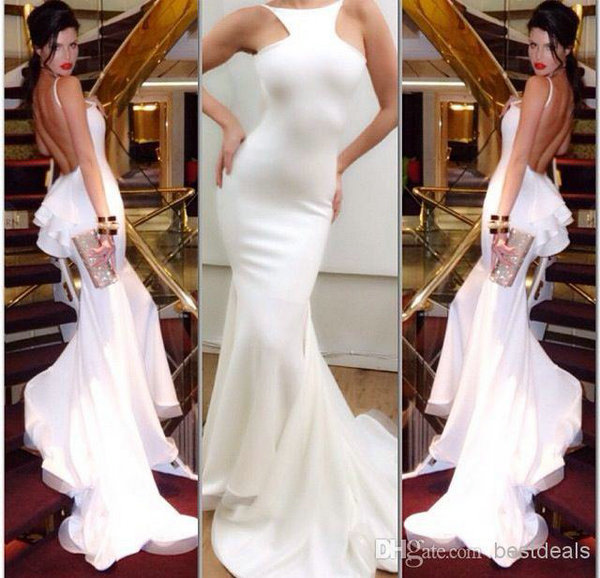 Aliexpress.com : Buy Hot & Sexy 2014 vestido de baile curto Custom Made Scoop Backless Long Mermaid White Prom Dresses 2014 from Reliable prom lace suppliers on 27 Dress