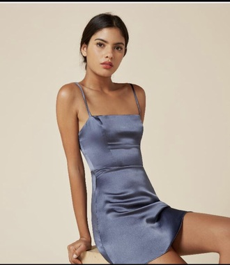 dress blue satin slip dress! slip dress