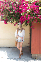 modern ensemble,blogger,blouse,shorts,shoes,sunglasses,jewels,white off shoulder top,white top,top,lace top,white lace top,lace blouse,off the shoulder,off the shoulder top,shoulder bag,brown bag,skirt,mini skirt,sandals,brown sandals,flat sandals,summer top,summer outfits,long sleeves