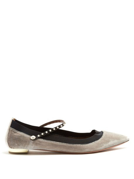 Aquazzura flats velvet light grey shoes