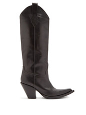 high,leather boots,leather,black,shoes
