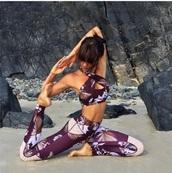 pants,fitness,fit,fitness pants,flowers,purple