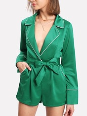 romper,girly,green,satin,silk,jumper,one piece