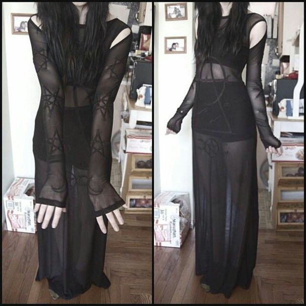 dress goth see through dress gothic dress black sheer semi-sheer