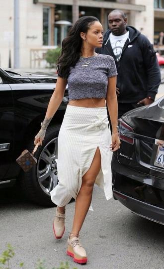 skirt rihanna slit skirt grey t-shirt cropped t-shirt shoes jewels