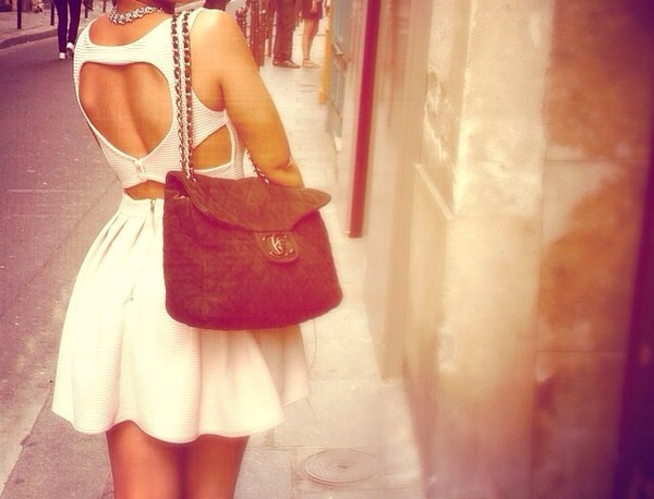 white dress dress bare back bareback girl outfit bag