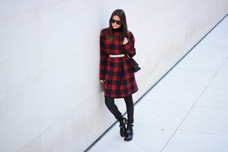 fashion vibe blogger belt sunglasses winter coat flannel cut out ankle boots