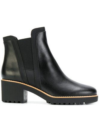 heel chunky heel women boots ankle boots leather black shoes