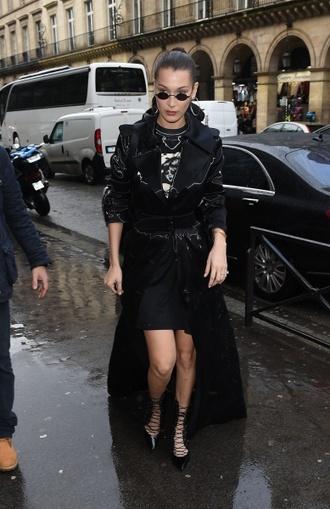 coat all black everything bella hadid model off-duty booties streetstyle paris fashion week 2018 fashion week 2018 shoes