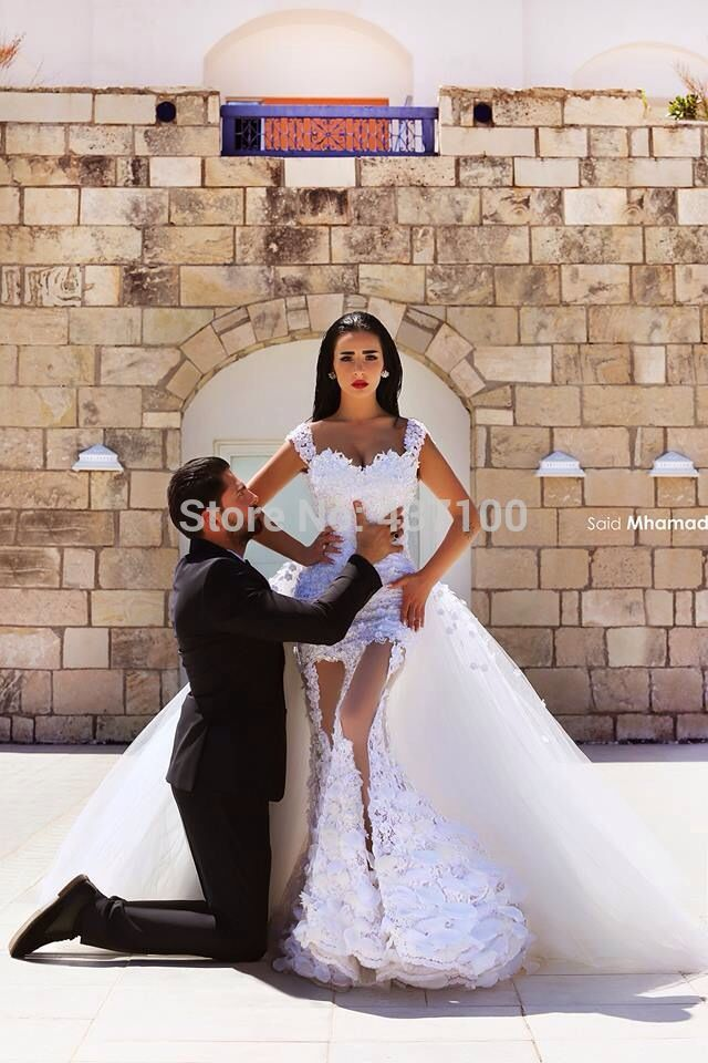 Aliexpress.com : buy 2015 new sexy off the shoulder sheer lace mermaid wedding dress with detachable train bridal gown vestidos de noiva casamento from reliable dress evening wedding suppliers on suzhou lovestory dress store