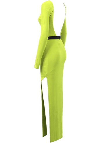 NEON LIME BELTED MAXI DRESS | LoveFRMS