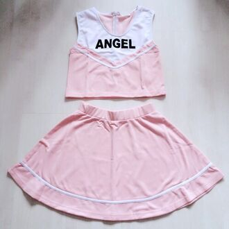 skirt pink pink top cute angel cheerleading top pink skirt outfit school uniform kawaii baby girl peachy white dress romper tumblr pastel pastel pink pastel grunge pastel goth nymphet kawaii grunge