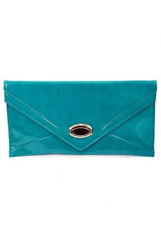 bag clutch cluch turquoise bold statement classic sleek vibrant teal pockets fashion style