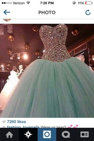 dress mint prom dress studded