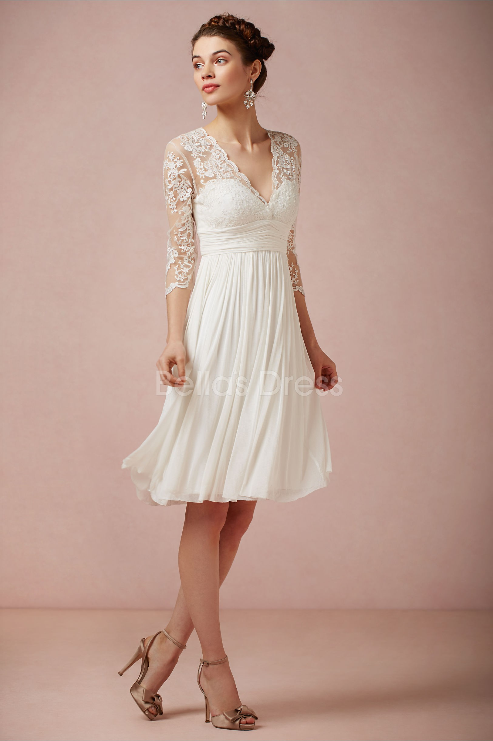 Knee Length V Neck Sheath Column Chiffon With Lace Destination Wedding Dress