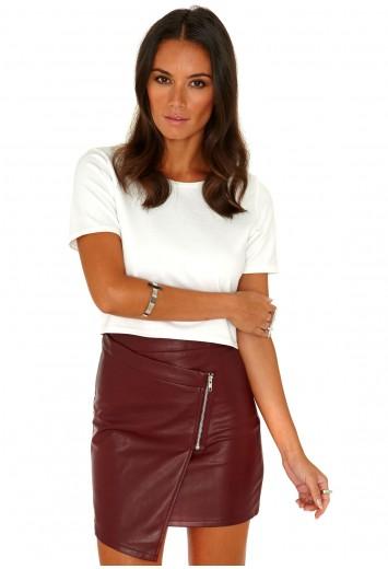 Taqara Zip Detail Leather Mini Skirt - Skirts - Missguided