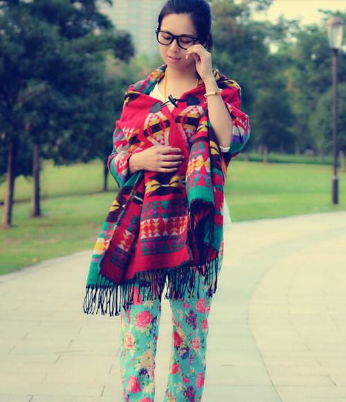 printed pants aztec scarf roses colorful
