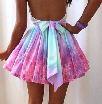 dress tie dye bows backless dress summer dress pink purple