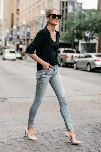 shoes jeans denim black top black shirt pumps beige pumps sunglasses