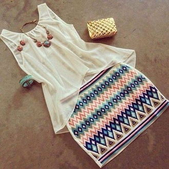 shirt skirt bag shoes white cream orange tribal pattern bracelets colorful necklace skirt aztec
