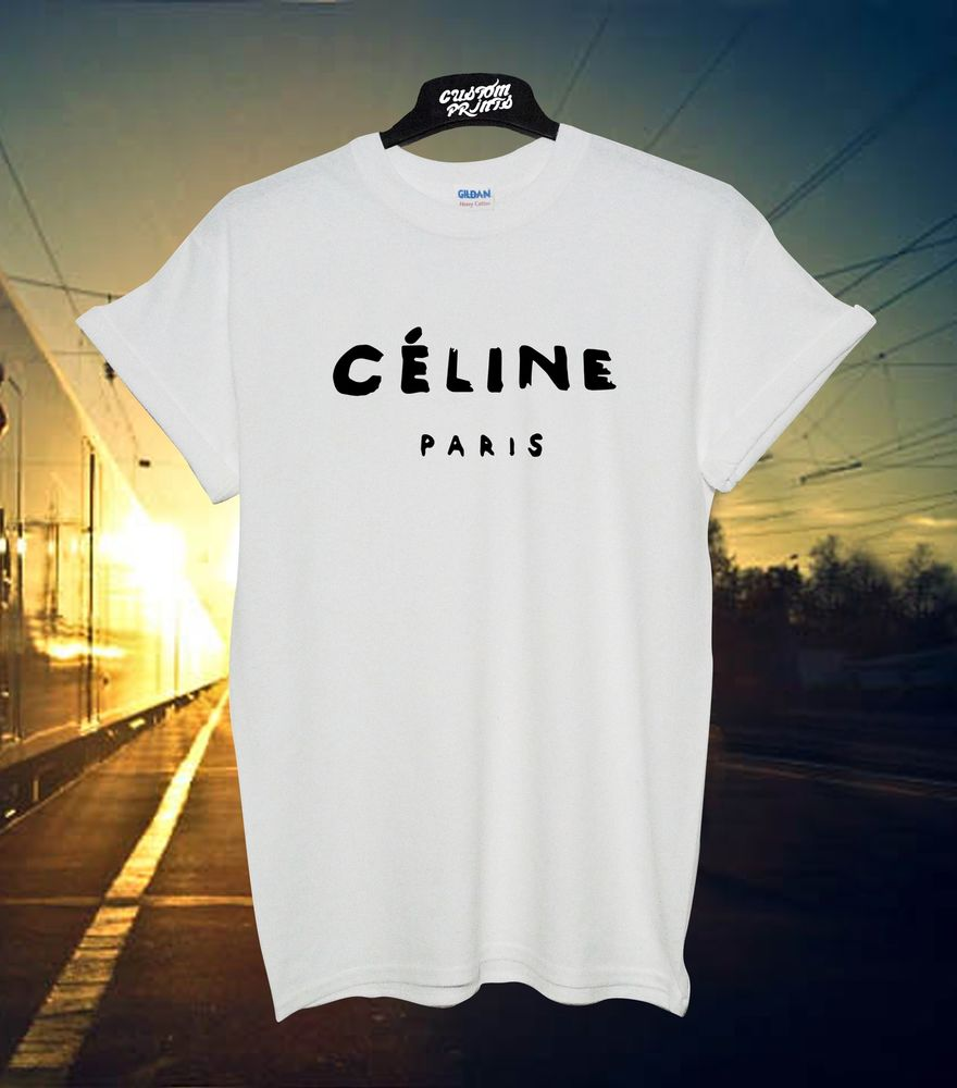 Celine Paris White T Shirt Rihanna Tour Comme Hype Geek Tee Shirt Top | eBay