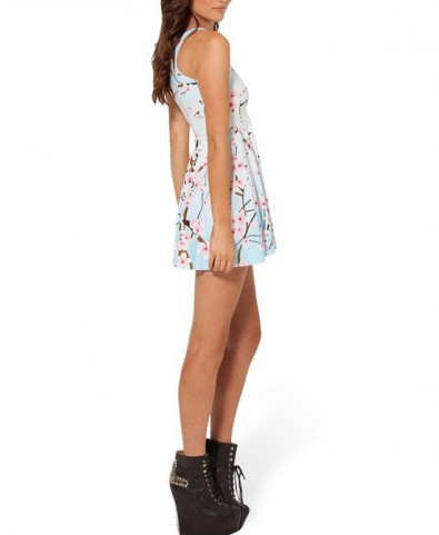 Plum Blossom Print Vest Style Collarless Sleeveless Skating Dress - Dresses - Clothing