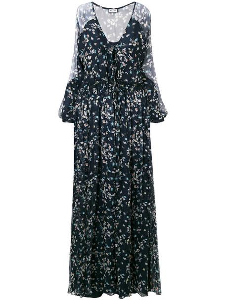 dress maxi dress floral maxi dress maxi long women floral blue silk