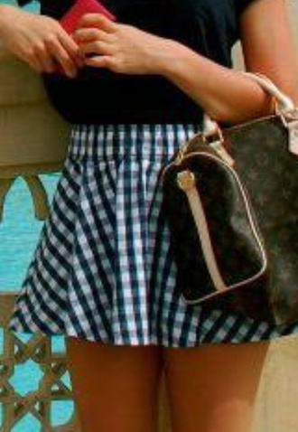 skirt gingham blue white