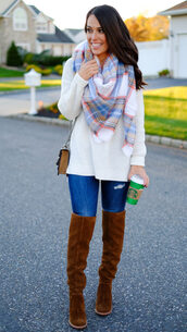 mrscasual,blogger,sweater,scarf,shoes,bag,jeans,over the knee boots,tartan scarf,fall outfits,shoulder bag