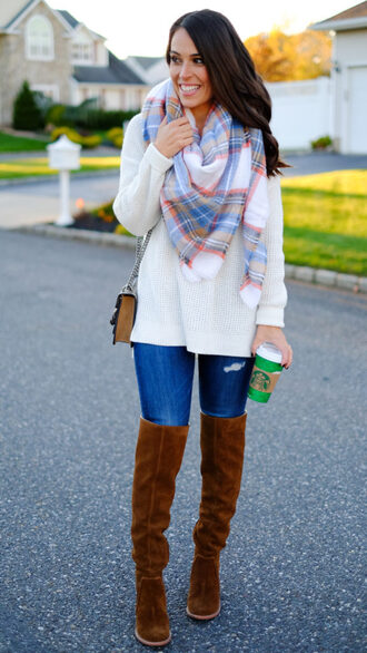 mrscasual blogger sweater scarf shoes bag jeans over the knee boots tartan scarf fall outfits shoulder bag