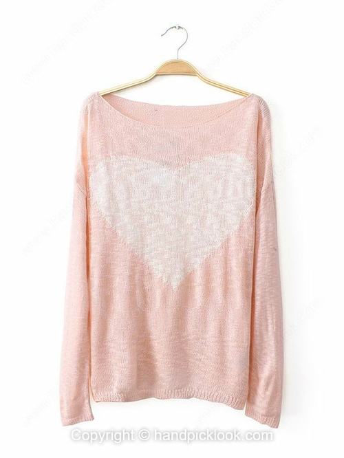 Pink Boat Long Sleeve Heart Print Cashmere Sweater - HandpickLook.com