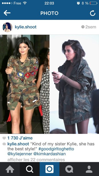 jacket kylie jenner army green jacket instagram