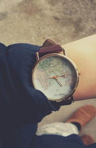jewels vintage watch women watches geography continents nice beautiful gold clock
