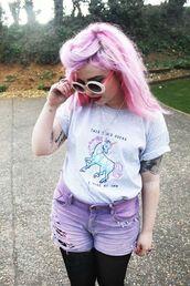 shirt,sunglasses,unicorn,pink,shorts,t-shirt,print,quote on it,rainbow,dust,melon lady,helen anderson